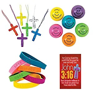 145 Piece Religious Christian Theme Party Favors Gift Bundle Set for Kids