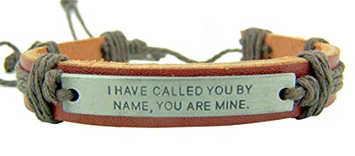 CB Metal I Have Called You by Name Plate on Adjustable Leather and Cord Bracelet, 8 Inch