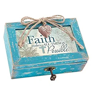 Cottage Garden Faith Makes All Things Possible Teal Distressed Jewelry Music Box Plays Amazing Grace