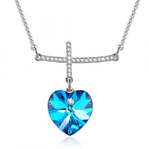 Cross Pendant Necklace Diamond necklaces Blue Crystal from Swarovski, Women Jewelry Gifts for her