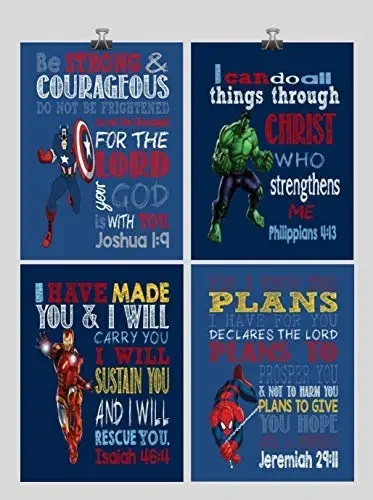 Get Christian Superhero Nursery Decor Art Print Set of 4 - Captain America, Hulk, Ironman and Spiderman - Multiple Sizes