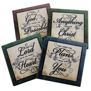 Inspirational Scriptures Coaster Set of 4 Encouraging Verses to Protect Your Furniture Christian and Spiritual Gifts and Decor