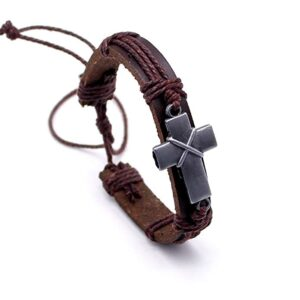 LNKRE JEWELRY Vintage Criss Cross Leather Bracelet Religious Christian Wrap Bangle Adjustable