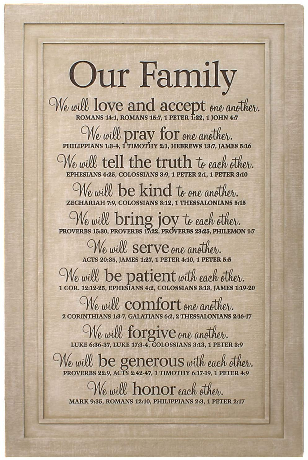 Lighthouse Christian Products Our Family Will Love One Another Textured Cream 11.25 x 16.75 Cast Stone Wall Plaque