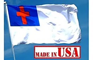 US Flag Factory - 3x5 FT Christian Flag (Sewn Cross) - 100% American Made - Outdoor SolarMax Nylon - Premium Quality