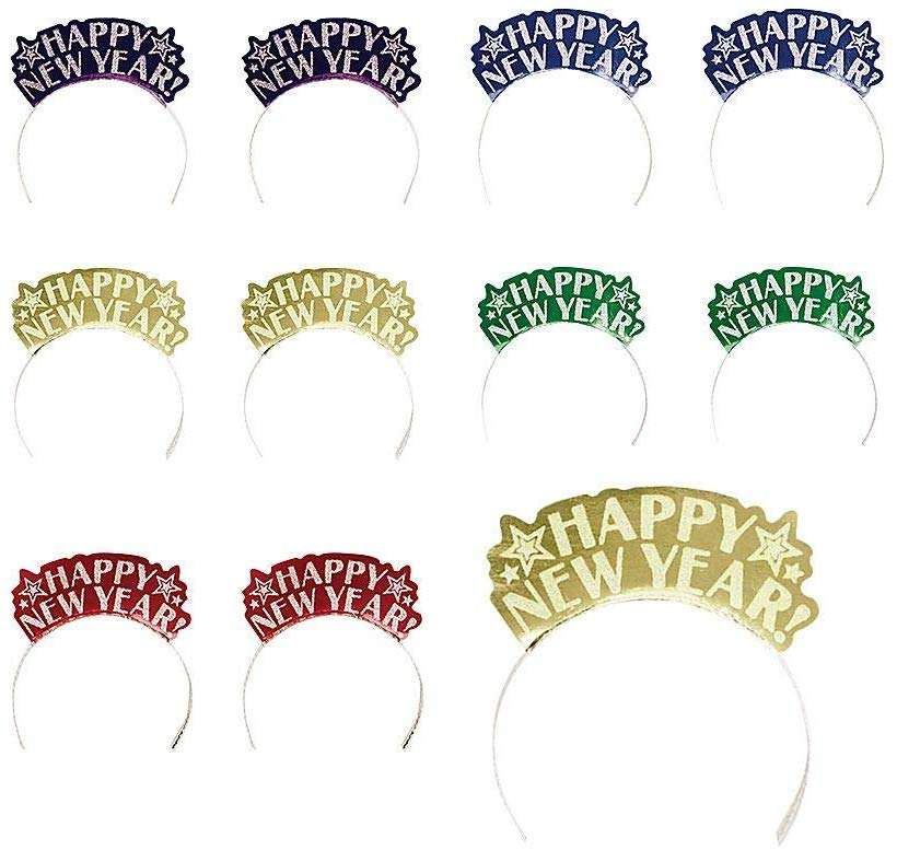 Amscan Sparkling New Year Multicolor Glitter Paper Assorted Tiaras Party Accessory , 7 X 5 Pack of 12 Costume