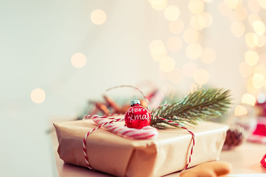 Brown gift for Christmas Celebration Background