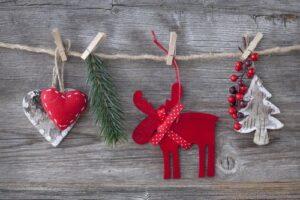 Christmas symbols: reindeer, christmas tree, heart