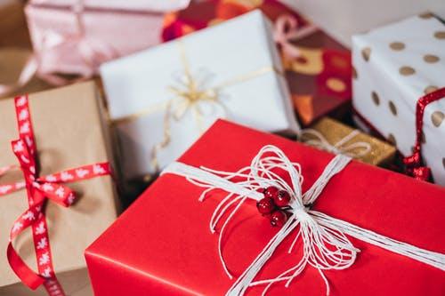 Christmas gift on red box