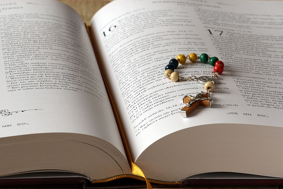 Bible with small rosary