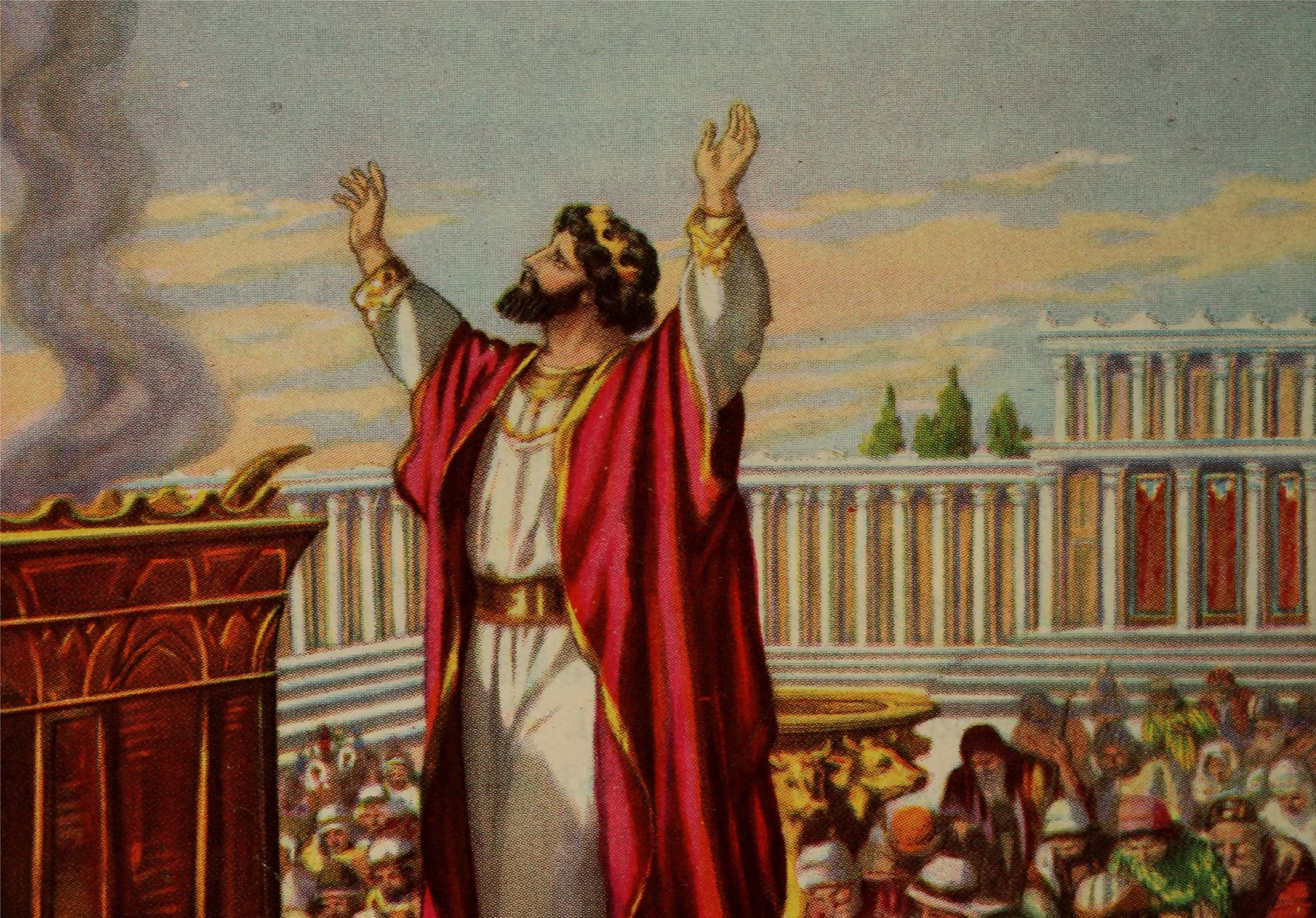King Solomon praying and offering to God with his counsel