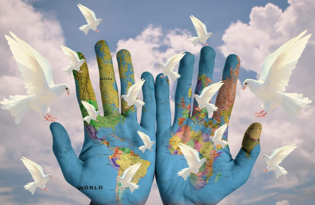 World, Peace, Dove, Hands