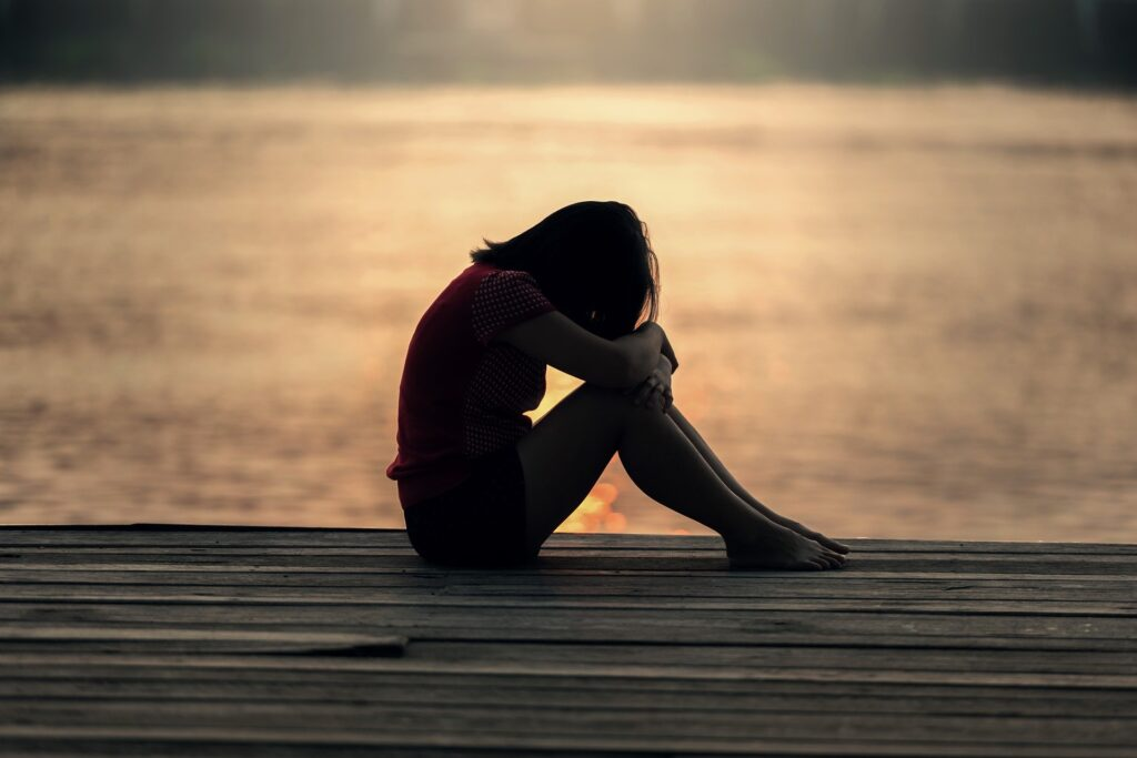 Girl, Thinking, Worrying, Seaside