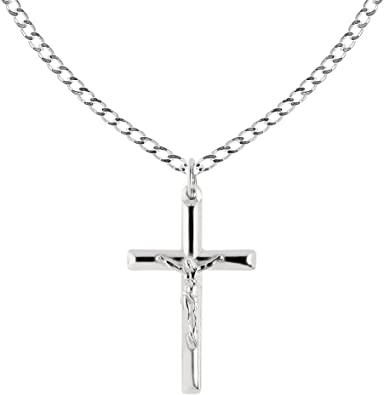 Silver, Crucifix Necklace, Jewelry