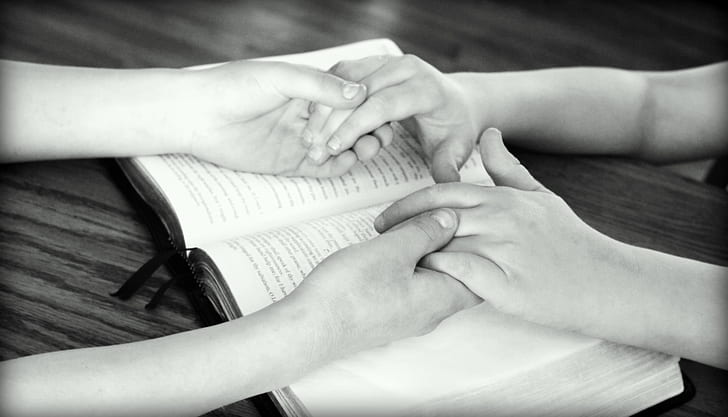Praying for Sick Person, Bible, Holding Hands
