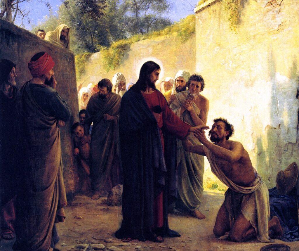 Jesus performing healing miracles