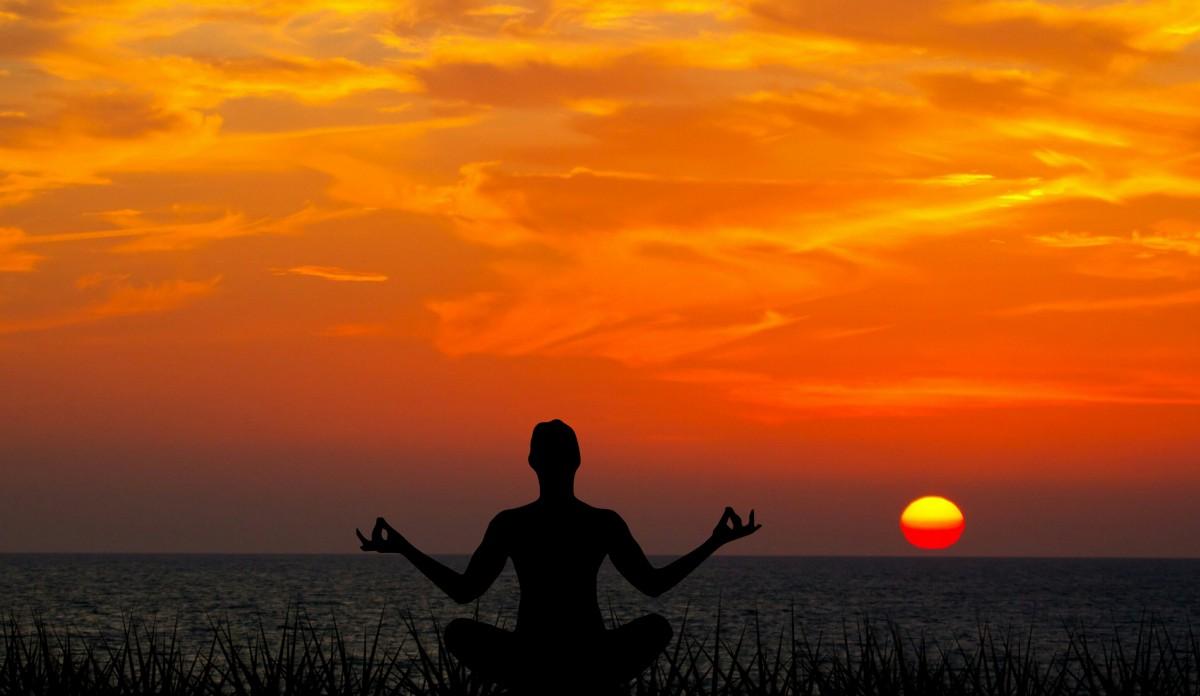 meditation, sunset