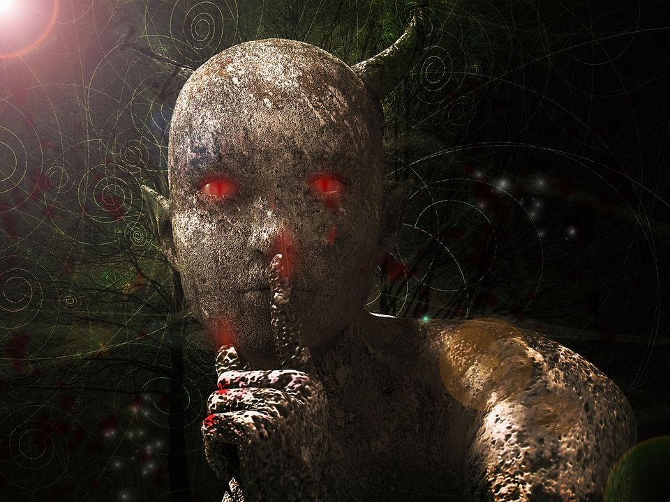creepy demon signalling silence