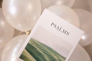 Psalm 27 KJV white balloon with book