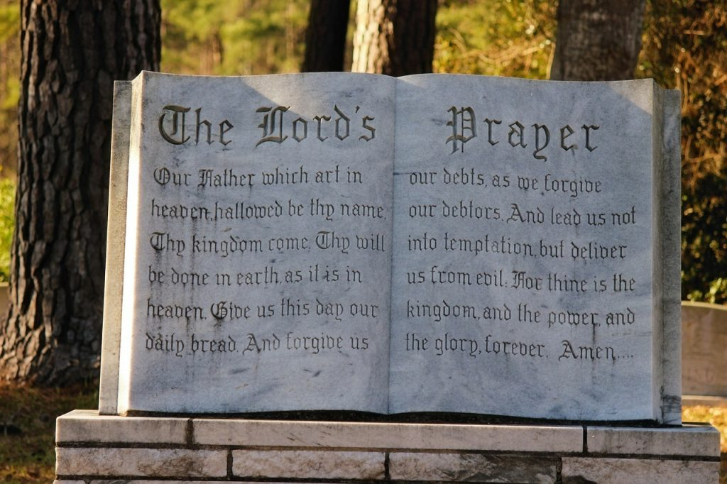 The Lord's Prayer in the Bible (Matthew 6:9-13)