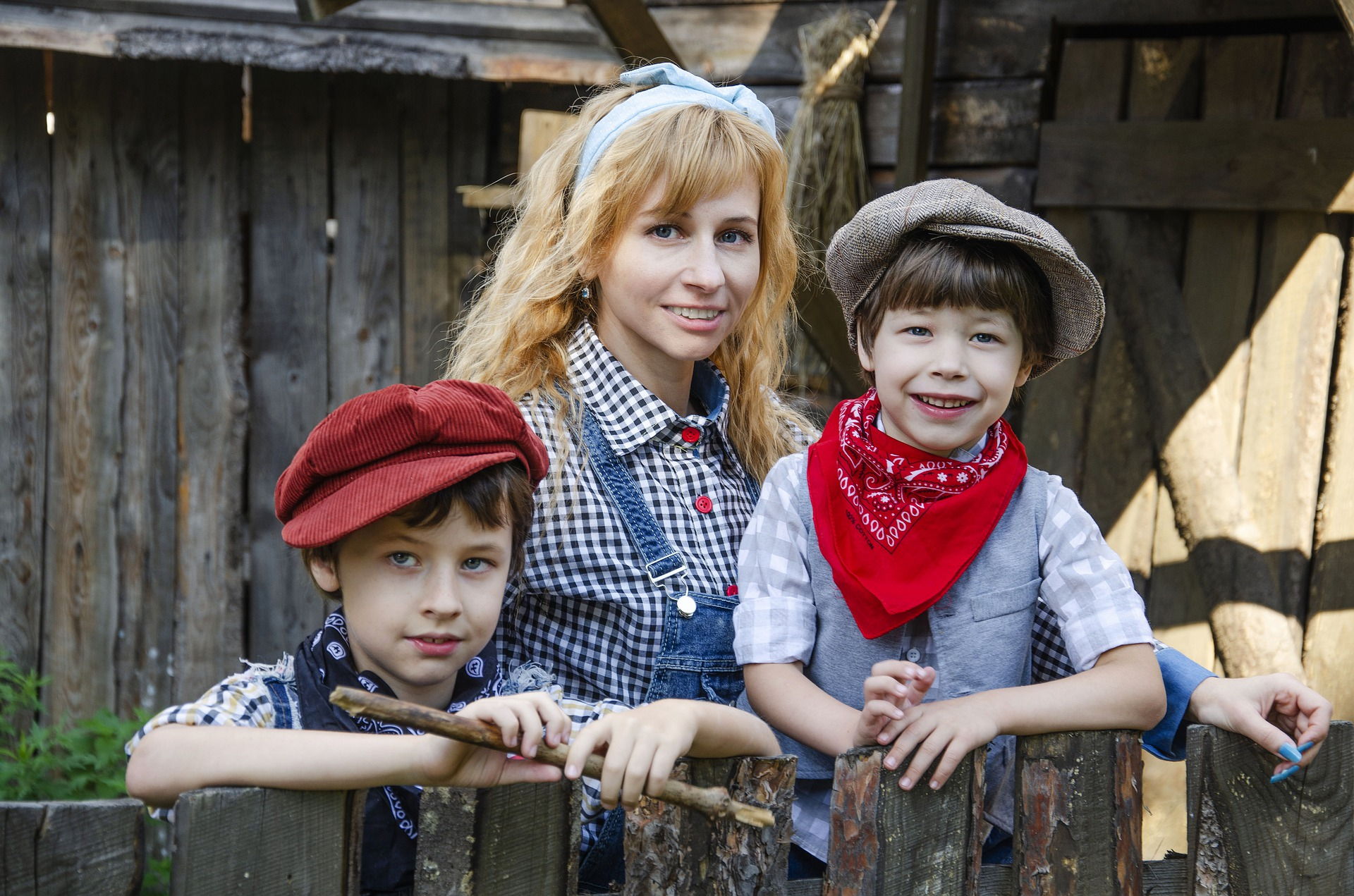 cowboy outfit, mother and kids