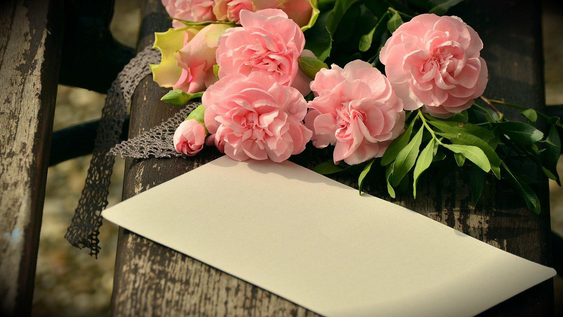 greeting envelope, bouquet